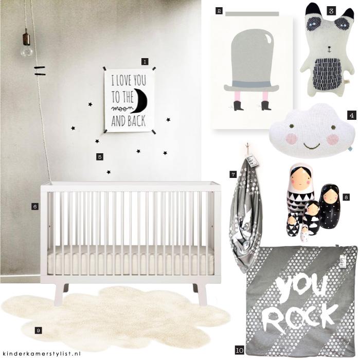 Babykamer zwart wit kinderkamerstylist - Babykamer schilderij idee ...
