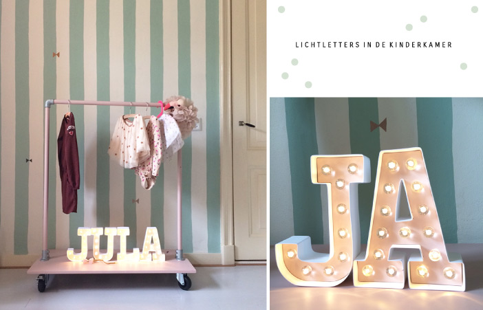 Kinderkamer Stylist : Lichtletters via Je suis Petit . Vind ook ...