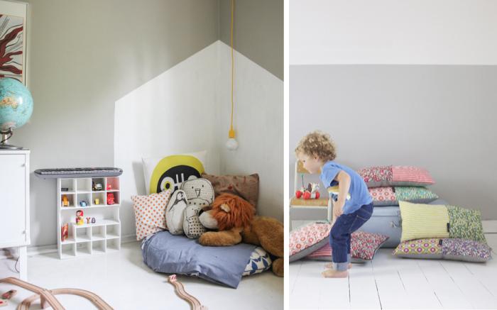 Vlakken op muur schilderen : Kinderkamerstylist