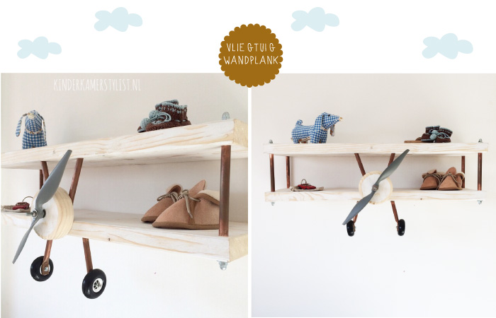 Vliegtuig wandplank | Kinderkamerstylist