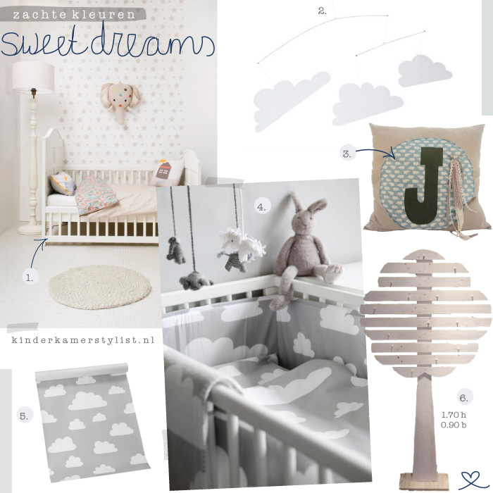 Zachte kleuren. Inspiratie voor de kinderkamer, babykamer.